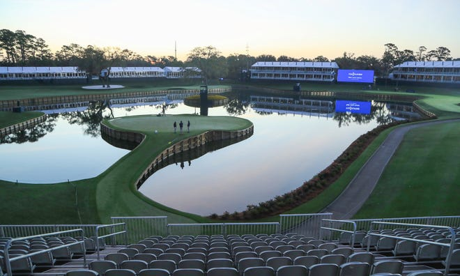 A general view of the 17th hole is seen from a grandstand after the cancellation of the The Players Championship due to the COVID-19 pandemic as seen at The Stadium Course at TPC Sawgrass on March 13. The PGA is hoping to resume play June 11.
