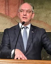 Louisiana Governor John Bel Edwards conducts a press conference on Wednesday, May 13.