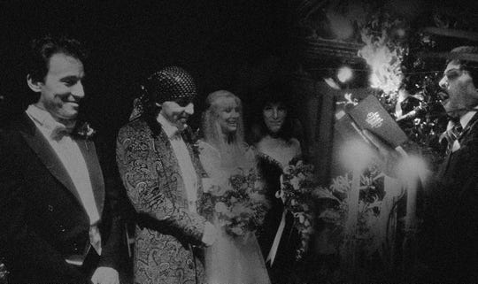 Little Richard (right) weds Steven Van Zandt and Maureen Van Zandt (center) in 1982.