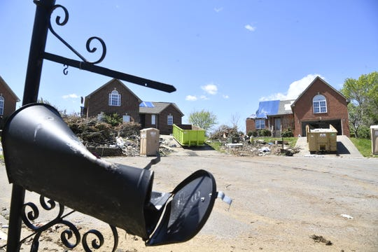 Many homes were damaged by the March 3 tornado that struck inside the Triple Crown subdivision in Mt. Juliet, Tenn. Tuesday, April 21, 2020.