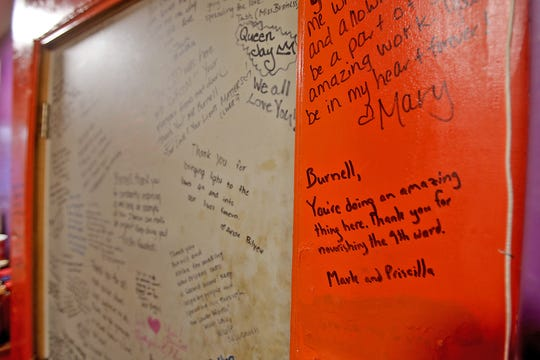 """""""Thank You"""" notes, including one from Facebook CEO Mark Zuckerberg and his wife Priscilla Chan, are penned on the walls of Burnell's Lower 9 Market in the lower Ninth Ward, gratitude for the generosity owner Burnell Cotlon has shown in helping feed residents of the underserved neighborhood. Photographed on Saturday, May 9, 2020."""