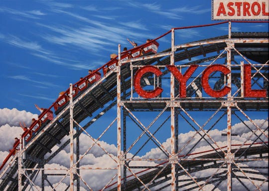 Mark Oberndorf's painting of The Cyclone in Coney Island.