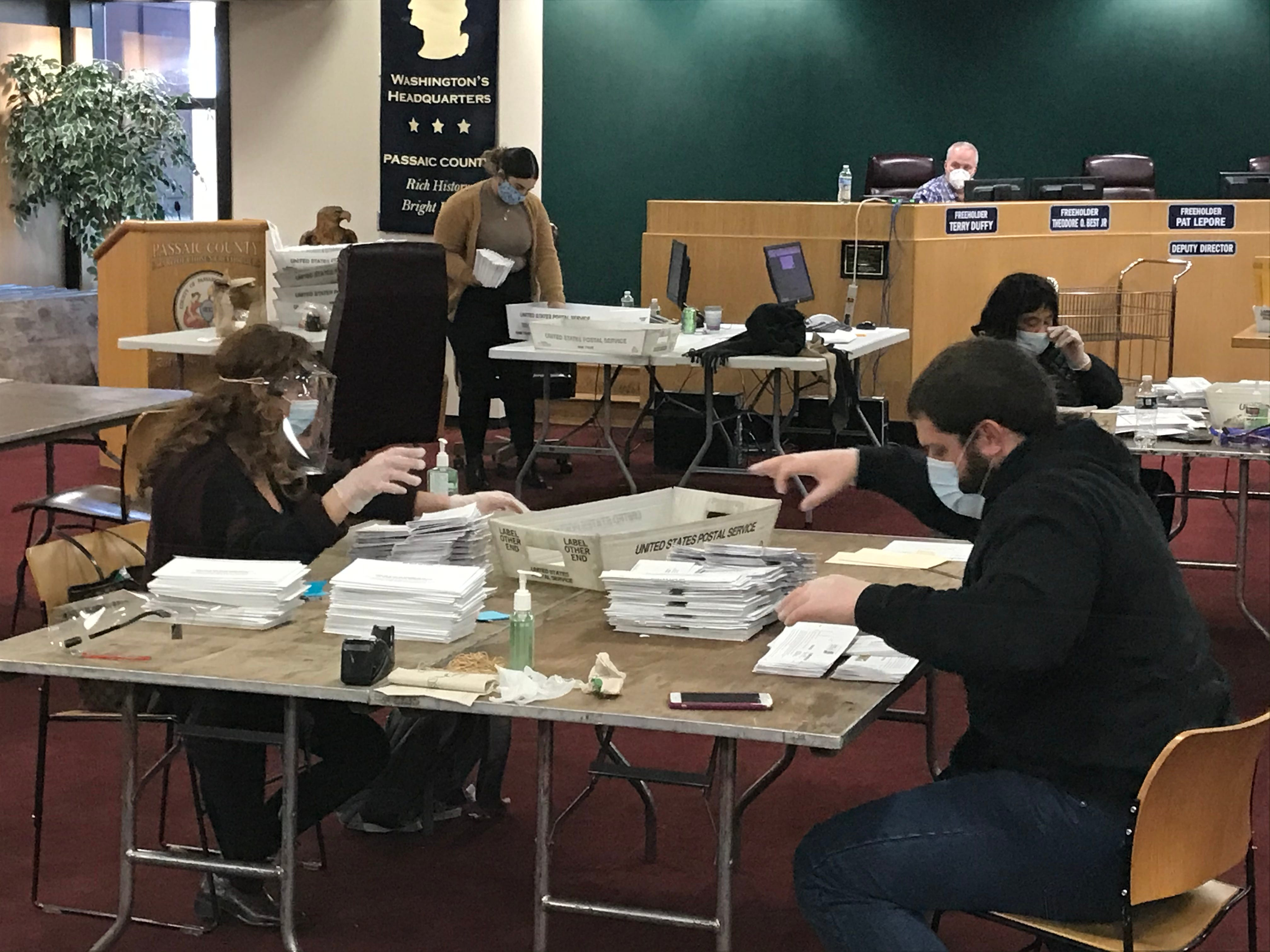 Counting ballots at the Passaic County, New Jersey Board of Elections