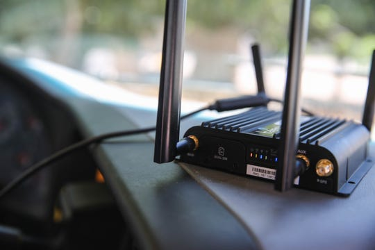 A mobile hotspot is set up on a school bus for students to use for homework in rural Berino, N.M. on Wednesday, May 13, 2020.