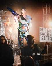 """Nate performs at the Feb. 13 drag show in Farmington, which was filmed for the HBO series, """"We're Here."""""""