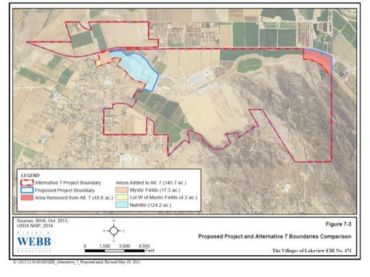 Riverside County approved the project boundaries for Villages of Lakeview, outlined in red, at a meeting in December 2017.