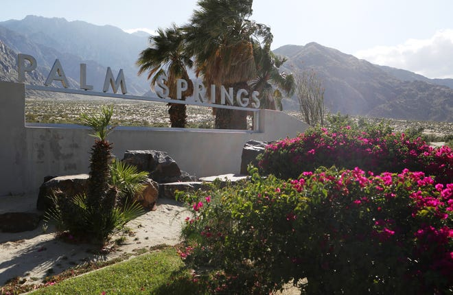 The city of Palm Springs has a projected budget shortfall and has asked for federal aid. The Palm Springs sign is photographed in Palm Springs, Calif., on May 12, 2020.