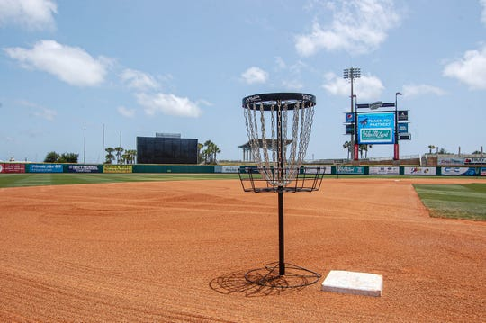 Third base at Blue Wahoos Stadium is a hole in the disc golf course residing in the bayfront stadium during the COVID-19 pandemic. The course was unveiled by designer Bubba Watson in May 2020.