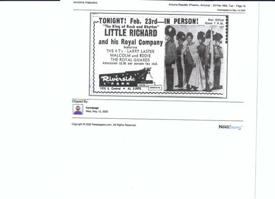 Little Richard and his Royal Company, which included Jimi Hendrix, played in February 1965 at the Riverside Park Ballroom in Phoenix.