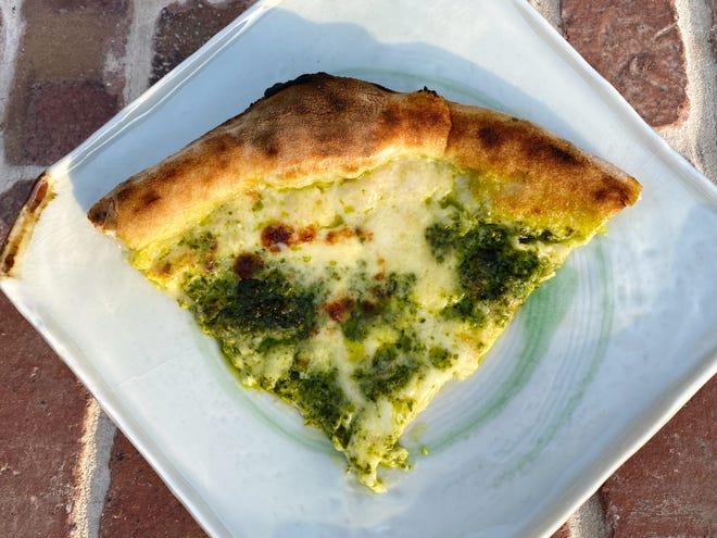 Pizza Genoa with mozzarella, stracchino, Parmigiano and pesto Genovese from Pizzeria Virtu in Scottsdale.