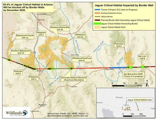 A map of border wall construction and its intersection with jaguar critical habitat.