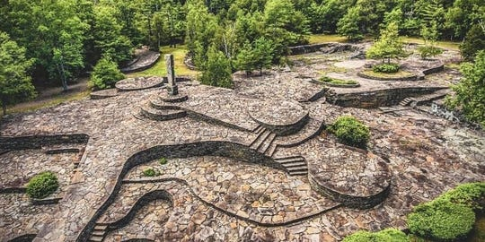 An aerial view of the Monolith at Opus 40 in Saugerties. The 6.5-acre walkable sculpture will open May 15.