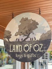 Land of Oz toys and gifts sign in Rhinebeck.