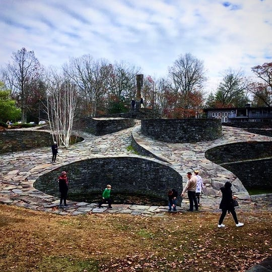 Visitors at Opus 40 in Saugerties. The site will open to members May 15 with a public opening following on May 23.