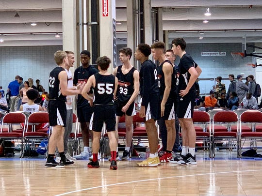 York College and Central York High graduate Jared Wagner, left in white shirt, coaches during an AAU game for the York Ballers. Wagner recently joined the Hood College men's basketball team as a graduate assistant coach.