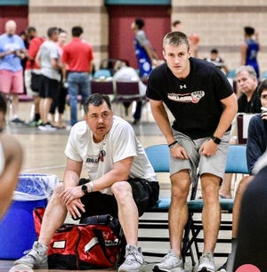 York College and Central York High graduate Jared Wagner, right, coaches during an AAU game for the York Ballers. Wagner recently joined the Hood College men's basketball team as a graduate assistant coach.