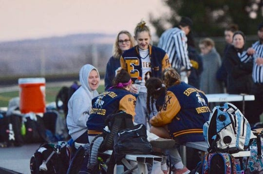 Eastern York senior Emma Hoak (facing center) said that one of the toughest parts of not being able to play lacrosse this spring was connecting with her teammates.
