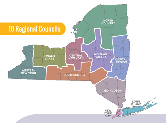 A map of New York's regional councils, which are being used to determine which areas of the state can reopen as the spread of the coronavirus slows.
