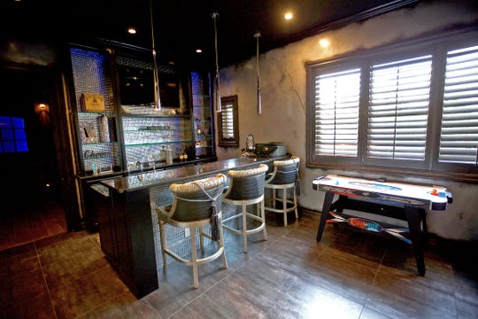 An entertainment room at 2666 Kings Road on Lake Nasworthy is seen in this Tuesday, May 12, 2020 photo.