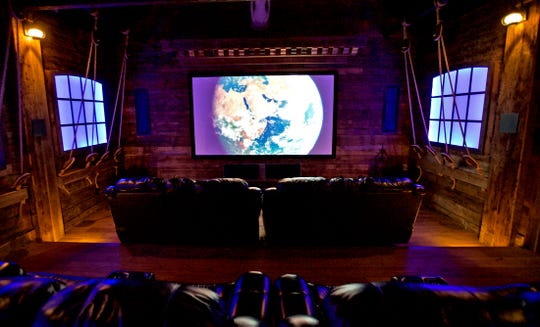A theater room at 2666 Kings Road on Lake Nasworthy is seen in this Tuesday, May 12, 2020 photo.