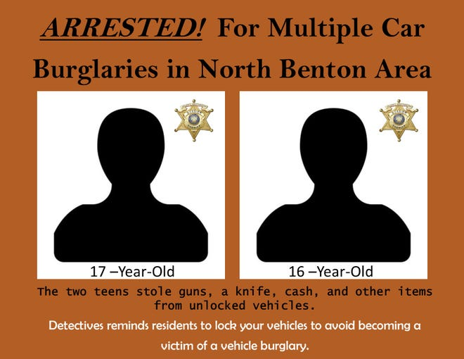 Two teenagers were recently arrested in connection with a rash of vehicle burglaries in the north Benton area. The Bossier Parish Sheriff's Office announced the arrests Wednesday afternoon.