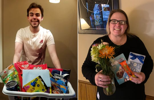 """Noah Lloyd (left) and Amanda Byrnes have gotten to know each other after Byrnes """"adopted"""" Lloyd through the """"Adopt a Senior"""" Facebook group. Lloyd is shown with his gift from Brynes, and he returned the favor with a gift for Byrnes on Mother's Day."""