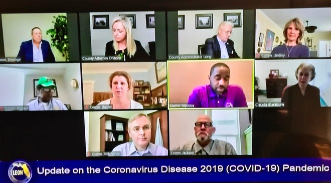 Leon County commissioners discuss the local coronavirus response during a virtual meeting Tuesday.