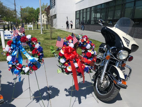 The Policemen's Benevolent Association Local 266 and Fraternal Order of Police Lodge 8 placed memorial wreaths at the entrance of the Vineland Police headquarters to mark the National Police Week ceremony