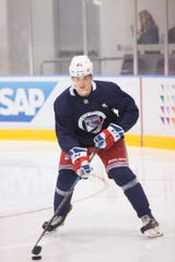 June 25, 2018: The New York Rangers host a development camp for their prospects at the MSG Training Center in Tarrytown, NY. Pictured is Nils Lundkvist.