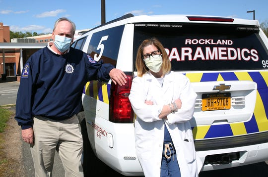 From left, Ray Florida, executive director of Rockland Paramedic Services, and his daughter Tara Cullen, director of the Emergency Department and Critical Care at Good Samaritan Hospital in Suffern May 12, 2020. Both father daughter are on the frontline of the COVID-19 outbreak.