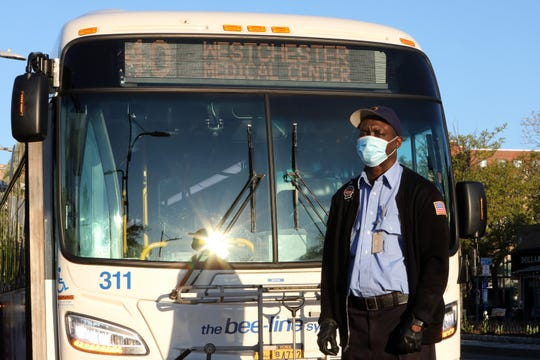 Bee-Line #40 bus driver Leroy Clarke, who has been delivering dozens of workers to Westchester Medical Center throughout the pandemic, at his first stop in Mount Vernon on May 13, 2020.