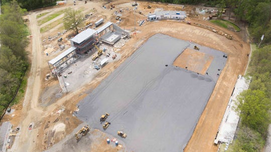 Aerial view of Abessinio Stadium under construction Saturday, May 9, 2020 in Wilmington, Delaware.