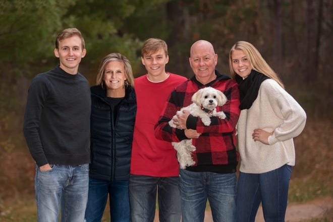 The Bruns family: Taylor, Marcia, Aidan, Tim (holding Lily) and Ella.