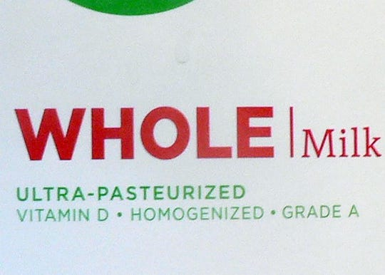 The Ultra pasteurized notation on the Simple Truth milk carton sold at Pick & Save.