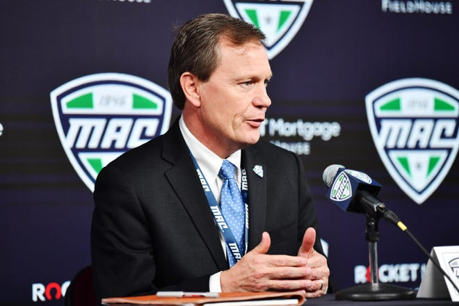 Mid-American Conference commissioner Jon Steinbrecher talks to the media during March 2020.