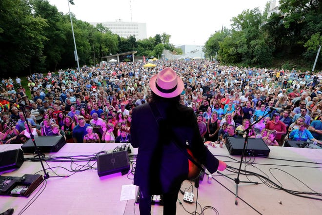 In this Mile of Music photo from 2019, thousands of music fans gathered in Jones Park to watch a performance by Dan Rodriguez.