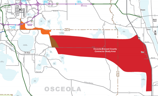 This map depicts the area under study for a future east-west road linking Brevard and Osceola counties.