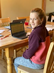 Sadie Dyhrman, a third grader from Williston Central School, adjusts to remote learning on May 14, 2020. Nearly two months after Vermont schools were ordered to close March 18 due to the COVID-19 pandemic, the nine year old has learned a lot she didn't expect about technology and time management.