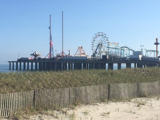 """Amusement parks along the Jersey Shore, like Steel Pier in Atlantic City, will remain closed """"for the time being,"""" Gov. Phil Murphy said Thursday."""