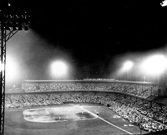 The first night game in Major League Baseball history was played May 24, 1935, at Crosley Field. Cincinnati beat Philadelphia, 2-1.
