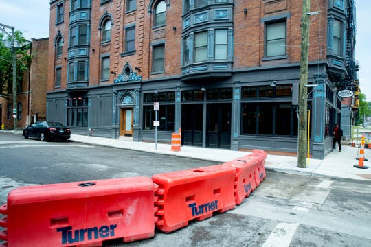 A view of a barricade which is set up blocking 15th street on Thursday, May 14, 2020, in Over The Rhine to allow Pepp and Dolores and other restaurants to serve outdoors on Friday, May 15.
