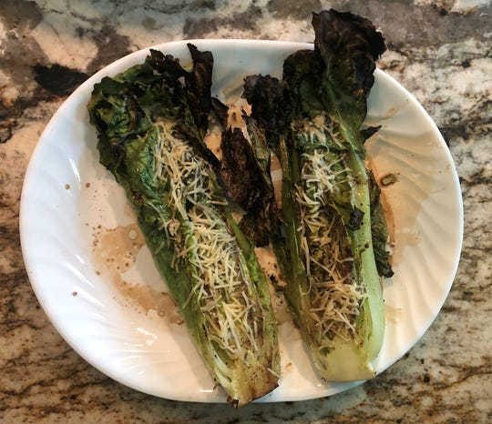 Grilled Romaine lettuce heads.