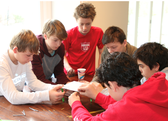 A team of Edison and Roosevelt Intermediate School students placed 1st in a mechanical problem solving category at the regional Odyssey of the Mind competition in March. (Clockwise from left):  Avery Keith (grade 8, Edison), Nathan Reynders (grade 8, Edison), Ted Crall (grade 7, Roosevelt), Nolan Daly (gade 8, Edison), Ethan Delforte (grade 8, Edison), and Lucas Gunzberg (grade 8, Edison).