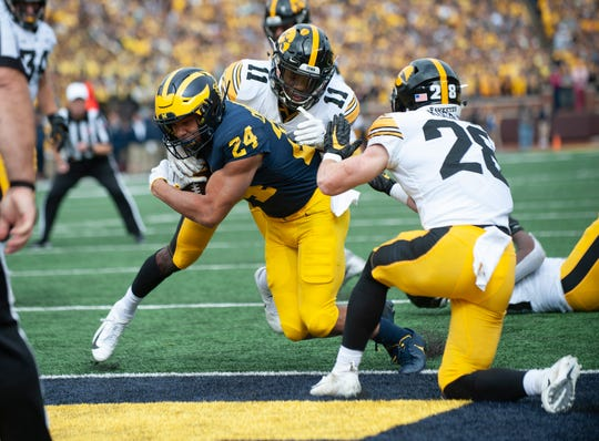 Zach Charbonnet (24) was Michigan's leading rusher last season as a freshman.