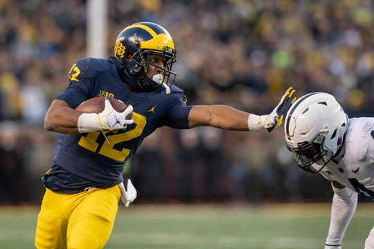 Michigan running back Chris Evans has rushed for 1,722 yards and 14 touchdowns in three seasons at Michigan.