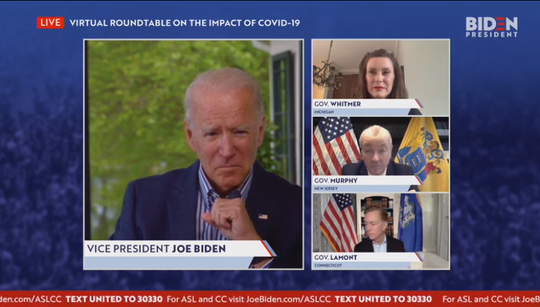 Former Vice President Joe Biden held a virtual roundtable with Gov. Gretchen Whitmer, New Jersey Gov. Phil Murphy and Connecticut Gov. Ned Lamont on Thursday, May 14, 2020, to discuss state responses to the coronavirus pandemic.