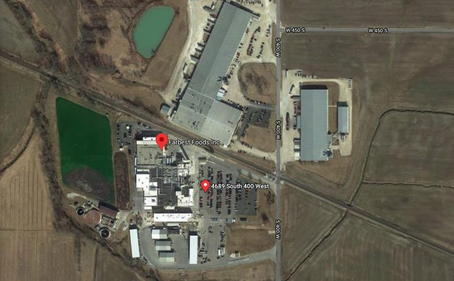Farbest Foods plant location in Huntingburg, as displayed on Google Maps.