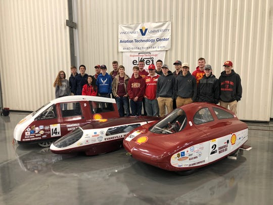 Mater Dei's team passed technical inspection for the Indiana Supermileage and Engineering Challenge in April 2019 at the Vincennes University Aviation Technology Center.