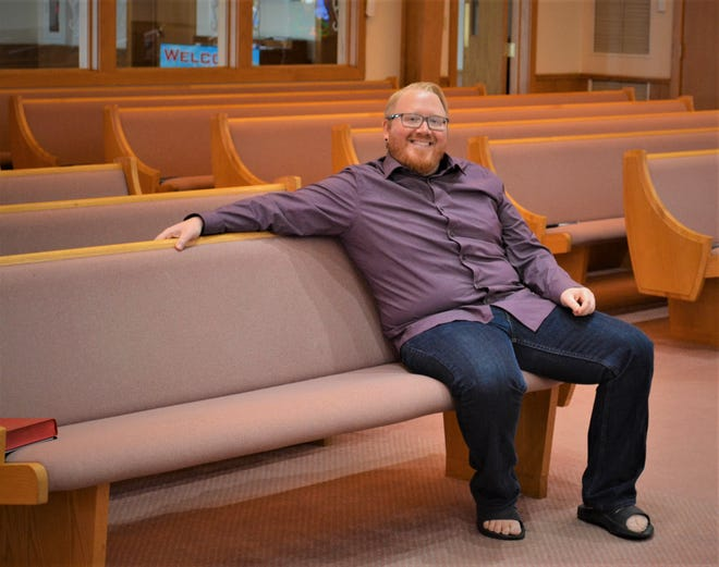 The Rev. Joshua Wynn of Hayes Memorial United Methodist Church connects with his congregation remotely while they can't physically come to the church. In addition to online services, Wynn found a way for his church to take communion together while apart.