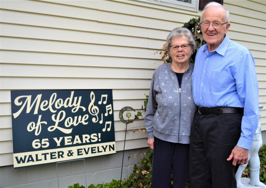 Walter and Evelyn Binger, who met in first grade, celebrated their 65th wedding anniversary on April 30.